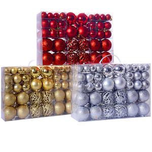 100 piezas de ornamentos de navidad Conjunto 30-60mm Ornamentos de la bola Mini inastillable de Navidad para las decoraciones de Navidad