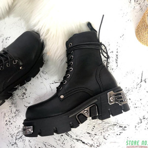 NEW Leather Ankle Boots For Women Dr Motorcycle Boots Women Platform Thick Heel Winter Shoes Booties 44 42 41