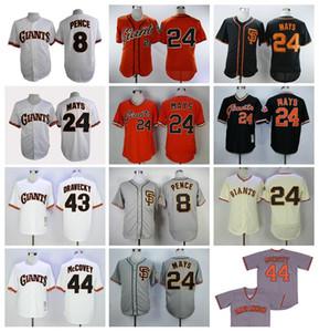 1989 Vintage Beyzbol 24 Willie Mays Jersey 43 Dave Dravecky 44 Willie McCovey 8 Hunter PENCE Emekli Kazak Serin Baz Siyah Gri Retro