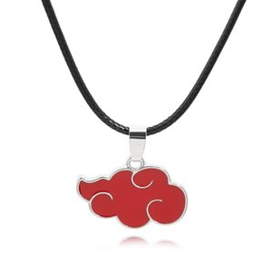China supplier cheap personalied Creative car key movie Anime Peripheral Naruto Peripheral Akatsuki Logo Red Cloud Keychain leather Necklace