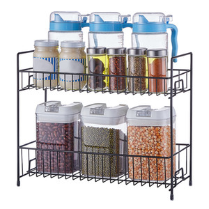 2 Layers Metal Cosmetics Storage Rack Bathroom Desktop Makeup Organizer Kitchen Seasoning Storage Shelves Makeup Organizer Box