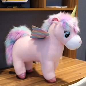 30~80cm Unique Glowing Wings Unicorns Plush toy Giant Unicorn Stuffed Animals Doll Fluffy Hair Fly Horse Toy for Child Xmas Gift Y1116