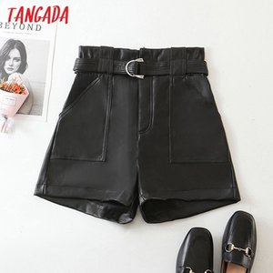 Tangada 2020 autumn winter women black faux leather shorts with belt strethy waist pockets female retro casual shorts HY249 Z1205