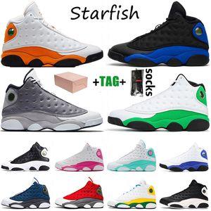 Mit Kasten Nike Air Jordan Retro 13 Stock Flint Starfish X Jumpman 13 13s Mens Basketballschuhe SatinJordanienRetro Hyper Royal Sport Trainer Outdoor Sneakers