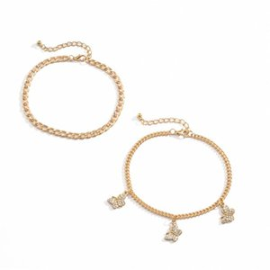Double Layer Alloy Diamond Anklets Geometric Fashion Butterfly Barefoot Chain Women Beach Gold Anklet Jewelry Accessories