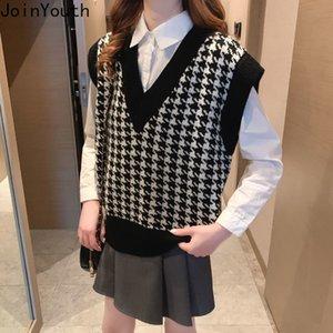 Joinyouth Oversized Knitted Vest Sweater for Women V Neck Sleeveless Loose Female Waistcoat Chic Tops New Fashion Tank 201030