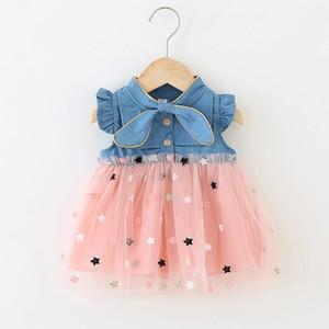 Patpat Patpat 2020 Nouvelle Arrivée Été et Spring Baby Star Brodé Denim Robes Baby Girl Vêtements Z1214