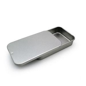 Caja de lata deslizante blanca Caja de embalaje de menta Cajas de contenedores de alimentos Pequeña caja de metal tamaño 80x50x15mm GWD3285