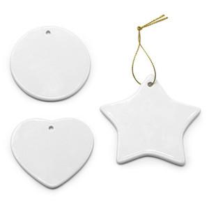Blank White Sublimation Ceramic pendant Creative Christmas ornaments Heat transfer Printing DIY ornament heart round Christmas decor FY4353