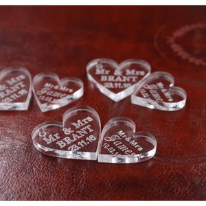 newwholesale-50 pcs customized crystal heart personalized mr mrs love heart wedding souvenirs table decoration centerpieces favors and