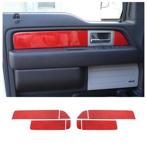 Автомобиль Внутренняя дверь Подлокочная панель Наклейки для Ford F150 Raptor 2009-2014 Red Carbon Fiber 8PC