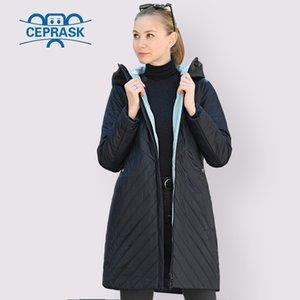 CEPRASK 2020 Tasarımcı İlkbahar Sonbahar Koleksiyonu Kadın Ceket Ince Parka Uzun Artı Boyutu Yeni Avrupa Kadın Ceket Sıcak Giysileri LJ200929