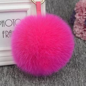 11cm Luxury Fluffy Real Fur Ball PomPom 12 Colors Genuine Fur Keychain Metal Ring Pendant Bag Charm Fo-K045-rose