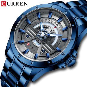 Watches Mens CURREN NEW Fashion Quartz stainless steel Watch Date and Week Clock Male Creative Wristwatch 201120