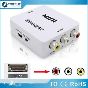 Adaptador de video HDMI2AV 1080P HD Mini HD a AV Converter CVBS + L / R HD a RCA para XBOX 360 PS3 PC360 con envases minoristas MQ20