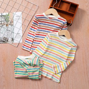 Girls Rainbow Stripe Long Seeves T-Shirts Spring 202 Children Boutique Clothing 1-5T Baby Kids Cotton T-Shirt Tops All-Match
