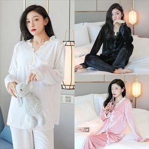 Juli-Syjjf-Sets-Pyjamas-Fleck Seidenkleid Sleepwear Stickerei Nachtwäsche Sexy Pyjamas Frauen Sexy Pyjamas Damen Nette Sommer Dame Elegant