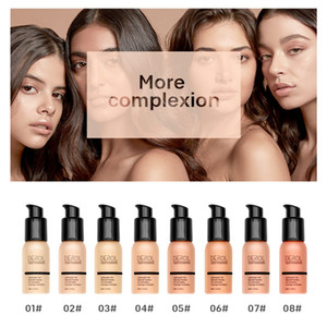 DEROL Concealer Liquid Foundation Brighten Moisturizing BB Cream Oil Control Waterproof Long Lasting Liquid Foundation Face Makeup
