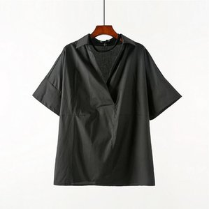 short-sleeved Summer thin shirt new Men loose Plus size clothes V-neck top male personality ice silk breathable wild shirts tide