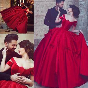 Dubai Saudi Arabic Red Prom Dresses 2021 Sexy Off Shoulder Plus Size Formal Evening Gowns Puffy Elegant Satin Queen robes de soiree AL7842
