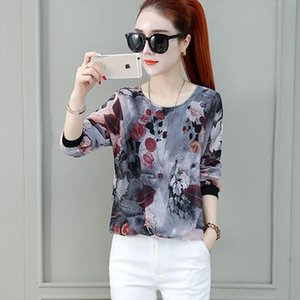 Fashion Women Spring Autumn Style Chiffon Blouses Women Casual Long Sleeve Loose Printed Shirt Womens Blusas Tops DF3462