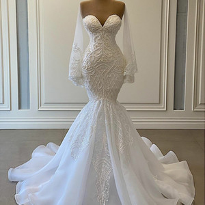 Elegant White Mermaid Wedding Dresses Beads Lace Applique Bridal Gowns Nigerian Arabic Marriage Dress Robe De Mariee