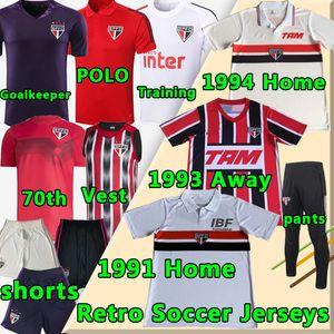 Retro Soccer Jersey São Paulo 1991 93 94 Classic Home Away FC 70th Pato Pablo Dani Alves 20 21 حارس مرمى تدريب البولو