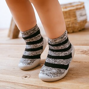 With Rubber Soles Cartoon shoes Infant Sock steps Anti-slip Leather kids Floor Socks baby slippers 201102