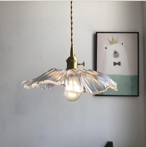 Flower glass chandelier single head chandelier restaurant living room bar bedside bedroom Nordic brass flower glass chandelier