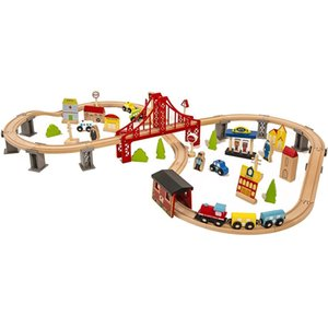 70 PCS Hand Crafted Wooden Train Set Crossing Railway Track Kids Toy Play Set Children's Christmas Gifts
