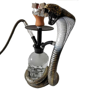 Hookahs Arabian hookah full set bar with light hookah snake pipe pot skull LED light hookah can be single double four pipes