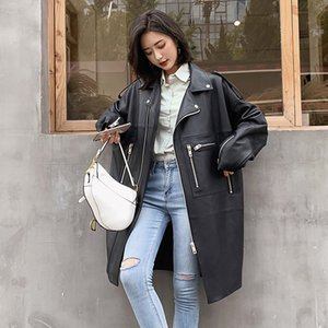 Nerazzurri Oversized black long spring womens leather jacket long sleeve drop shoulder zipper Plus size loose faux leather coat