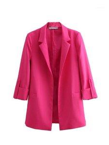 Bbwm frau mode rose rot drei viertel sleeve blazer lässig frauen offen stich gekerbt blazer elegant casaco femme1