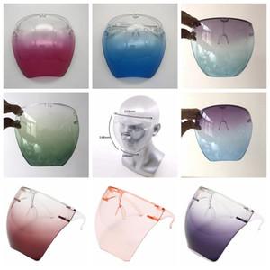 Kunststoffsicherheit Faceshield mit Brillenrahmen Transparente volle Gesichtsabdeckung Schutzmaske Anti-Fog-Gesichtsschild Klare Designermasken HWB3213