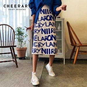 CheerArt Trui Kadınlar Mektup Baskı Kullanılan Kore Hgih Taille Uzun Kış Wrap Rok Tasarımcı 2020 Moda
