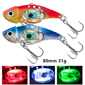 5pcs lot 80 mm 31 g Colorful LED Attracting Fish Lamp VIB Spoons Fishing Hooks 4# Hook Metal Baits & Lures Pesca Fishing Tackle SF-213