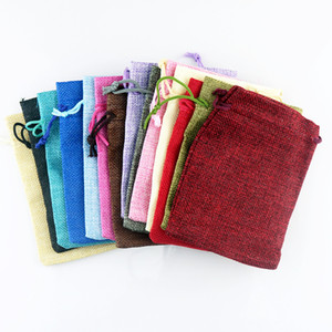 50pcs Gift Bag Vintage Style Natural Burlap Linen Jewelry Travel Storage Pouch Mini Candy Jute Packing Bags christmas gift box Y1202