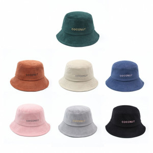 Womens Corduroy Bucket Hat Word Embroidery Packable Spring Summer Autumn Winter Beach Hats Sports Fishing Cap Solid Color Ladies Sun Vsiors
