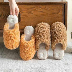 Hot Sale-2020 Women Warm Fur Slippers Solid Color Soft Plush Winter Home Floor Shoes Female Male Indoor Slippers Lovers Cotton Slipper