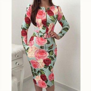 2019 Spring Autumn Women Floral Printed Dresses Fashion Half Long Sleeve Casual Party Vintage Boho Dress Female Hot Sale Dress