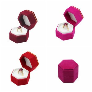 Hexagonal Velvet Jewelry Boxes Valentine Day Ring Box Plastic Ring Storage Box Jewelry Display Holder For Ring Earrings Xmas Gift RRB3712