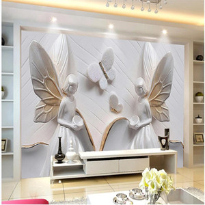 Create beautiful angel relief background wall 3D background wall relief decorative painting 3d stereoscopic wallpaper
