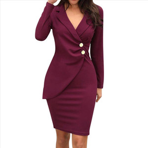 Women Dress Solid Turn Down Collar Long Sleeve Buttons Bodycon Casual Work Formal Dress Party Knee Ladies Vestidos YL5