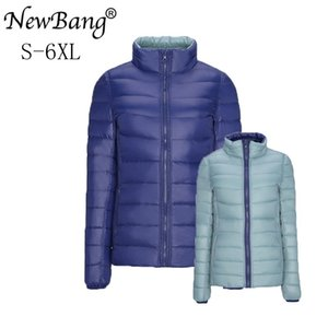 NewBang Brand Plus 4XL 5XL 6XL Women's Down Coat Ultra Light Down Jacket Women Double Side Reversible Jackets Lightweight Coat 201124