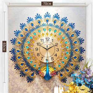 3D Gold Diamond Peacock Wall Clock Metal Watch Silent Digital Clock for Home Living Room Wall Decoration Clocks Ornaments Gift
