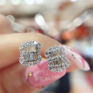 2020 New Arrival Luxury Jewelry Sparkling 925 Sterling Silver Princess Cut White Topaz CZ Diamond Gemstones Popular Women Stud Earring Gift
