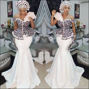 Nigerian Stylish Mermaid Evening Dresses Lace Applique Sexy Off Shoulder Arab Dubai Party Dresses Glamorous Satin Long Prom Dresses
