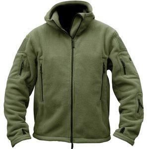Otoño hombres vellón chaqueta táctica suave cubierta con capucha chaqueta con capucha para hombre multi bolsillo cremallera caliente polar ejército abrigo Outwear