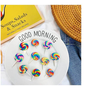 8 Styles Colorful Rainbow Lollipop Brooch Candy Badge Coat Sweater Dress Jacket Pin Brooches Women Men Cute Pins