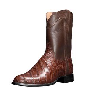 2021 High-top Mid-calf Men Boots Retro Men's Boots Crocodile Pattern Jeans Men's Shoes Plus Size Western Cowboy Biker Boots 2.5a